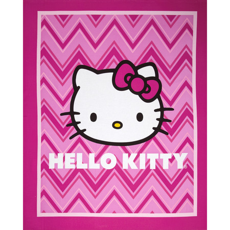 Hello Kitty Chevron Panel Pink Fabric By The Yard