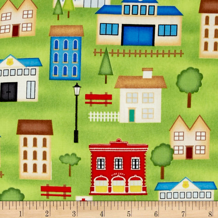 Help Is On The Way Buildings Green Fabric By The Yard