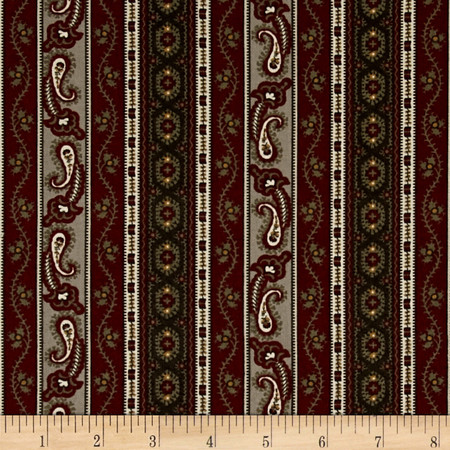 Hint of Print Striped Paisley Maroon/Green/Tan Fabric