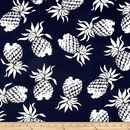 Hoffman Large Pineapples Navy Fabric