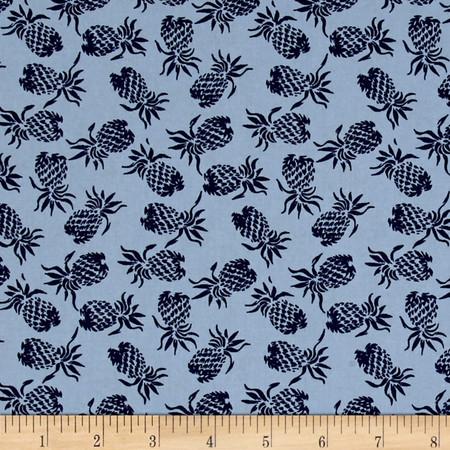Hoffman Mini Pineapples Blue Fabric
