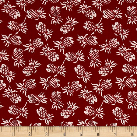 Hoffman Mini Pineapples Red Fabric By The Yard