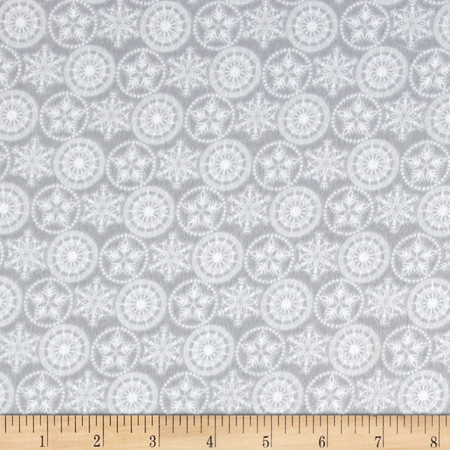 Holiday Frost Flannel Snowflakes Gray Fabric By The Yard