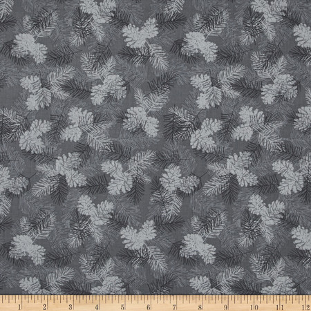 Holiday Magic Tonal Pinecones Grey Fabric