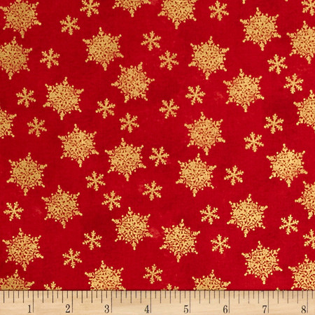 Holiday Traditions Metallic Snowflakes Red  Fabric By The Yard