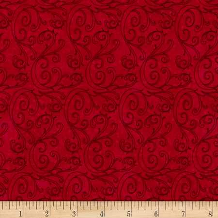 Holiday Traditions Swirl Red Fabric By The Yard