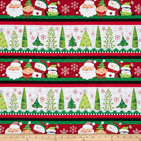 Holly Jollies Decorative Stripe Red/Green Fabric