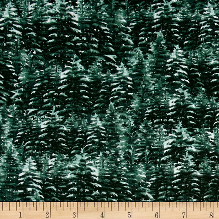 Home For The Holidays Evergreen Allover Green Fabric By The Yard