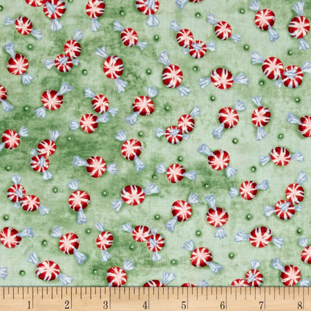 Home For The Holidays Peppermints Green Fabric By The Yard
