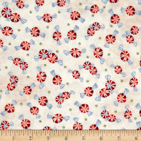 Home For The Holidays Peppermints Light Cream Fabric By The Yard