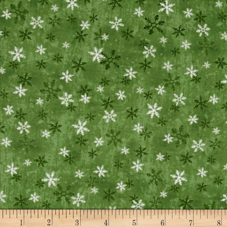 Home For The Holidays Snowflake Dark Green Fabric By The Yard