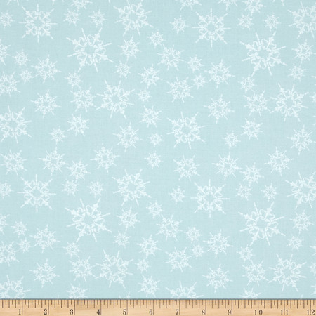 Home For The Holidays Snowflake Light Blue Fabric By The Yard