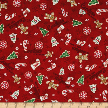 Home For The Holidays Tossed Cookies Red Fabric By The Yard