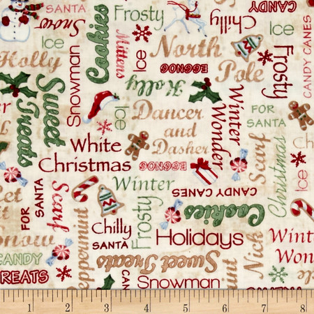Home For The Holidays Words Multi Fabric By The Yard