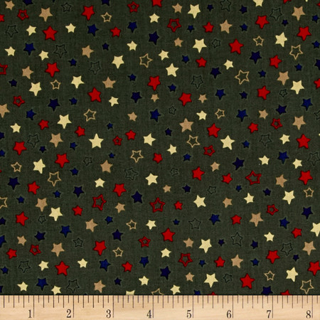 Homefront Girl Stars Dark Olive Fabric By The Yard