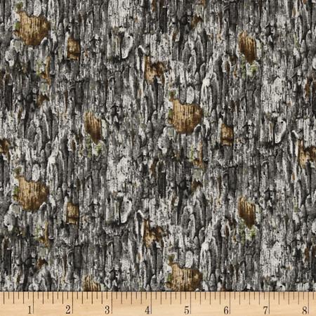 Hoo's Tree Tree Bark Grey Fabric By The Yard