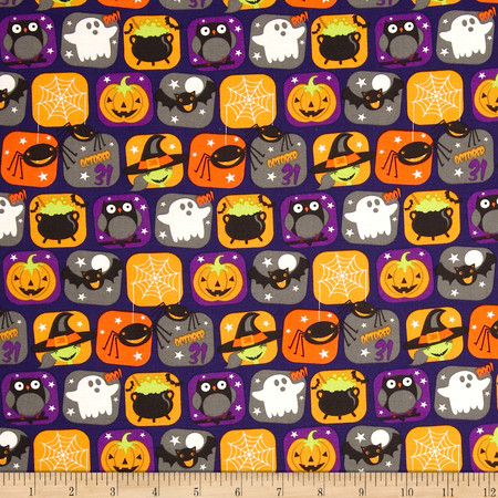 Horror Scope Icons Purple Fabric By The Yard