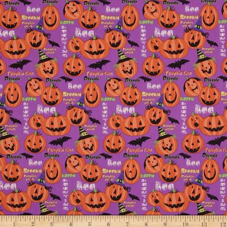 Horror Scope Jack-O-Lanterns Purple Fabric By The Yard