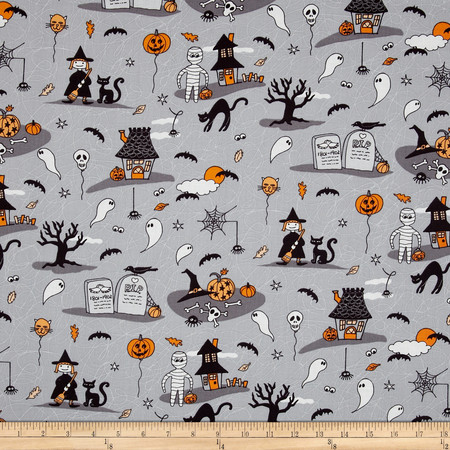 Horror Scope Scenic Grey Fabric