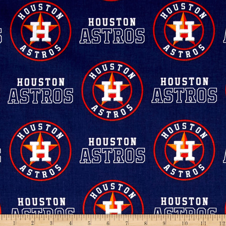 Houston Astros Cotton Broadcloth Navy Fabric By The Yard