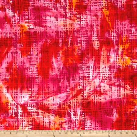Hudson Bay Rayon Challis Abstract Plaid Red/Orange/Yellow Fabric By The Yard