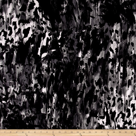ITY Jersey Knit Halen  Black Grey Fabric