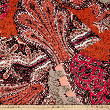 ITY Jersey Knit Paisley Mosaic Hot Pink Fabric