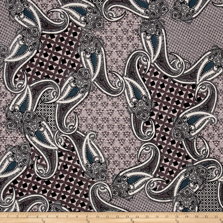 Stretch ITY Jersey Knit Paisley Patch Silver Fabric By The Yard