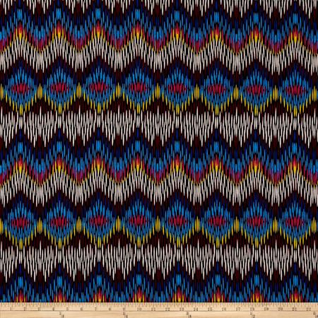 Stretch ITY Jersey Knit Zig Zag Rainbow Fabric By The Yard