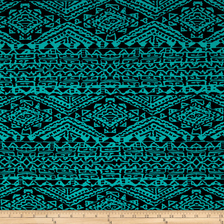 ITY Knit Aztec Print Jade/Black Fabric