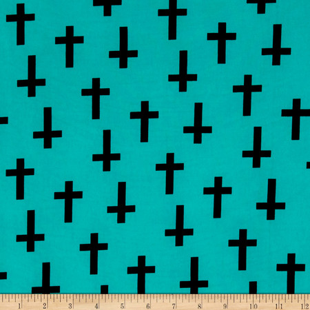 ITY Knit Crosses Turquoise Fabric