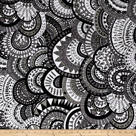 ITY Knit Medallion Print Grey Fabric