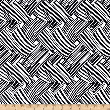 ITY Knit Weaved Lines Print Black/White Fabric