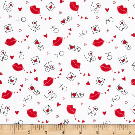 I Love You Lips White Fabric