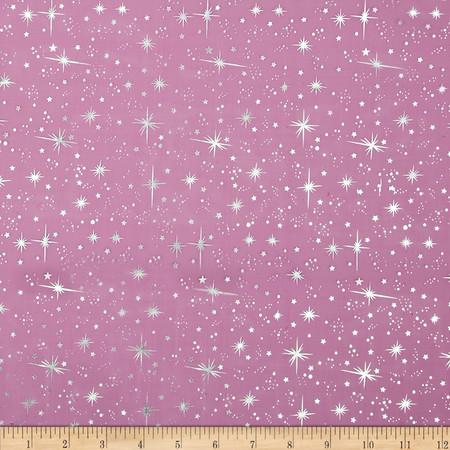 Ice Organza Silver Star Fuchsia Fabric By The Yard