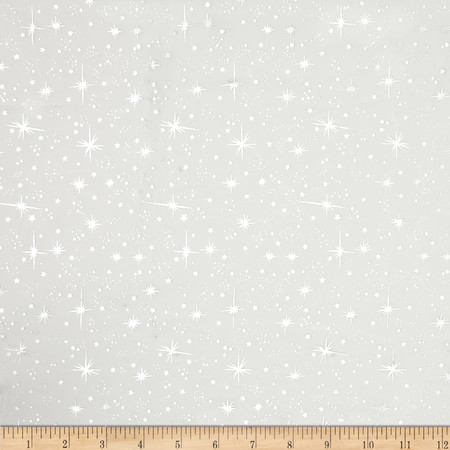 Ice Organza Silver Star White Fabric By The Yard