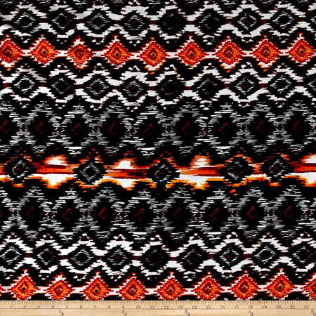 Ikat Diamond Span Jersey Knit Black/Orange Fabric By The Yard