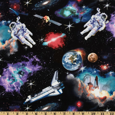 In Space Astronauts Black Fabric By The Yard