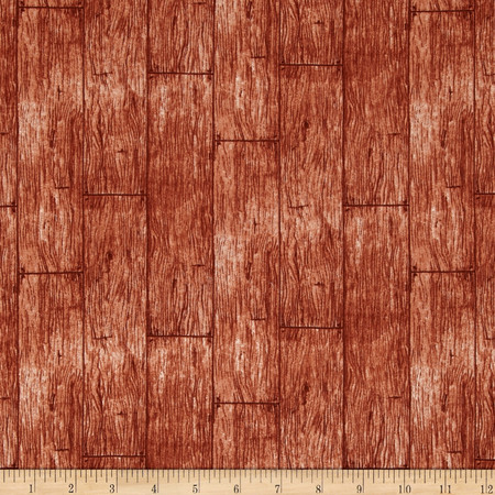 In The Meadow Wood Planks Brown Fabric By The Yard