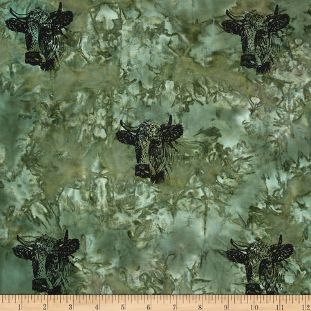 Indian Batik Animal Planet Steer Green Fabric