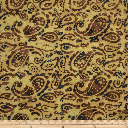Indian Batik Bronze Mosaic Paisley Natural Fabric