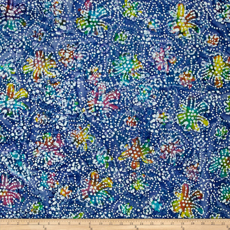 Indian Batik Caledonia Garden Small Floral Blue Fabric