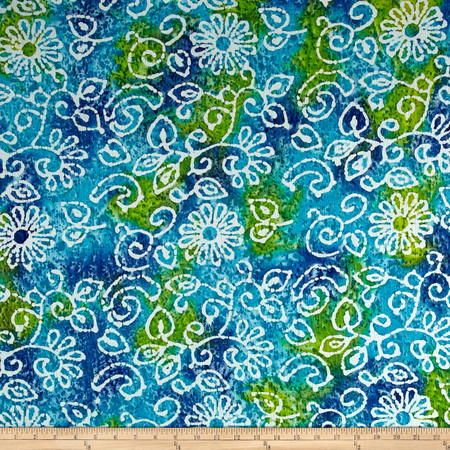 Indian Batik Crinkle Cotton Print Floral Scroll Blue Green Fabric By The Yard