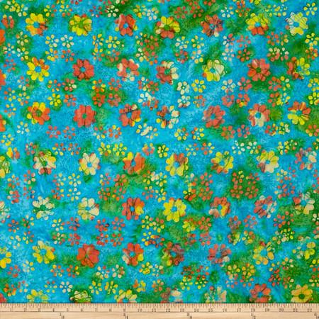 Indian Batik Dream Catcher Floral  Teal Multi Fabric