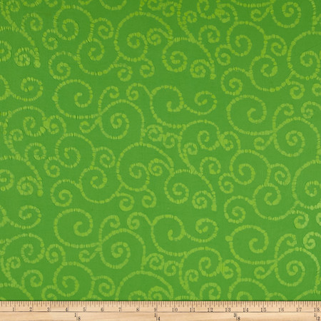 Indian Batik East Side Scroll Lime Fabric By The Yard
