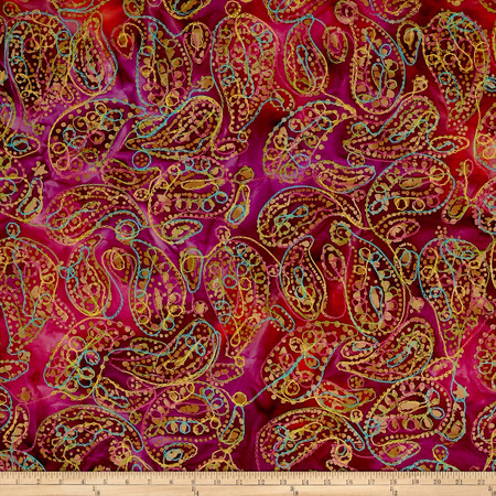 Indian Batik Embroidered Bright Mosaic Paisley  Fuchsia/Purple Fabric By The Yard