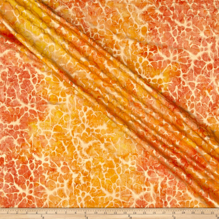 Indian Batik Montego Bay Gold Abstract  Orange /Yellow  Fabric By The Yard