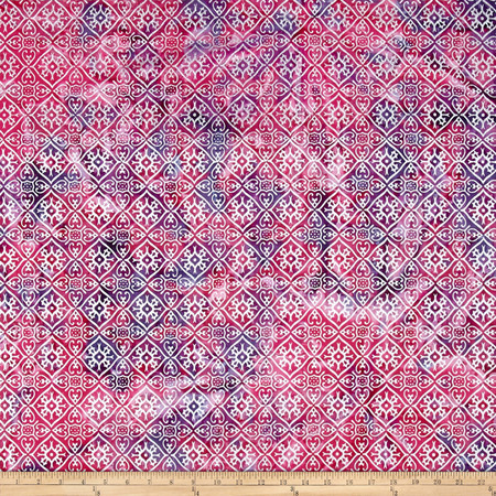 Indian Batik Montego Bay Patchwork  Rose/Purple/Silver Fabric