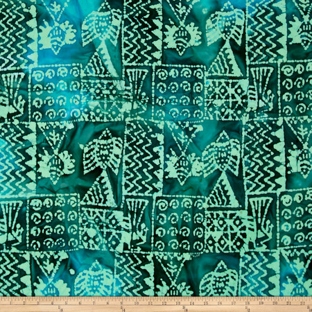 Indian Batik Ocean Grove  Island Patch Green Fabric By The Yard