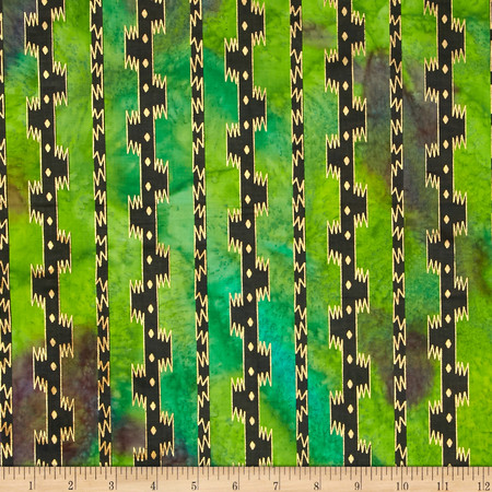 Indian Batik Urban Ethnic Stripe Metallic Green Fabric